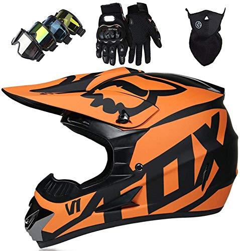 AZBYC Casco Motocross Niño Homologado Casco Moto Integral Unisex para Moto Cross Descenso Enduro MTB Quad BMX Bicicleta (Gafas+Máscara+Guantes) con Diseño Fox - Mate Negro Naranja,S