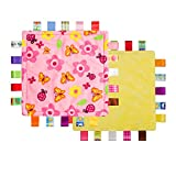 Colorful Taggy Security Blanket - Keepsake Newborn Baby Girl Ideal Bespoke Gift - Soothing Towel Security Soft Blankie for Kids (G-001, One Size)