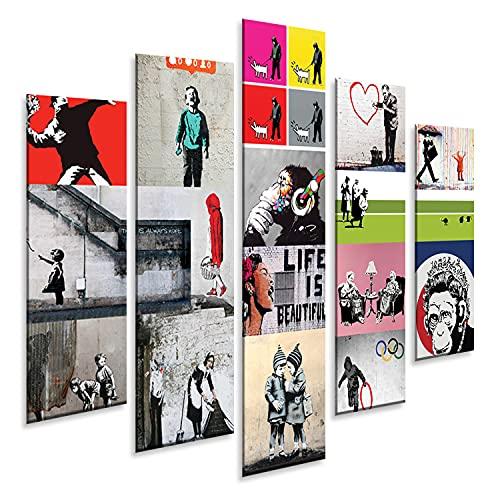 Giallobus - 5 Panel múltiple Art Board - Banksy - Collage de Banksy - Panel PVC - 140x100