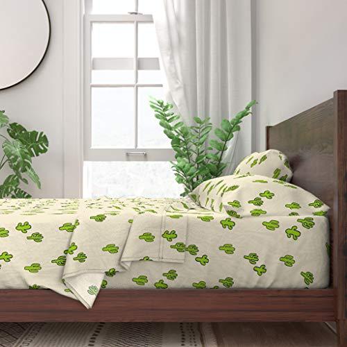 Roostery Sheet Set, Petite Cactus Small Summer Boho Cacti Desert Plant Terrarium Botanical Print, 100% Itallian Cotton Sateen Sheet Set, King