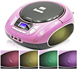 Lauson NXT765 Portable CD Player Multicolor LED Digital FM Radio, LCD Screen | USB Reader to Play MP3 Music | CD Player with Headphone Output & Speakers (Pink)