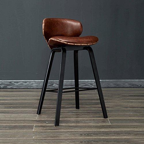 QZz Tabourets de bar en bois massif, tabourets de siège marron tabourets décoratifs, chaises de loisirs, (Couleur : Black legs, taille : H69CM)