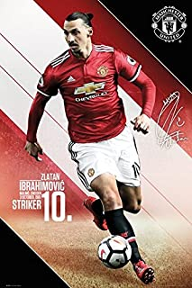 Manchester United - Sports/Soccer Poster/Print (Zlatan Ibrahimovic in Action - 2017/2018) (Size: 24 inches x 36 inches)