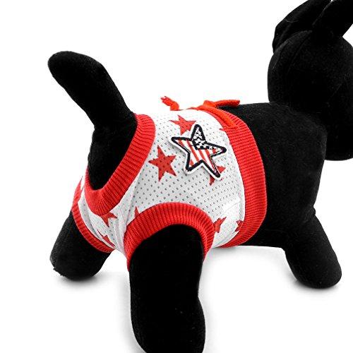 Ranphy 犬用サニタリーパンツ マナーパンツ 生理用パンツ 星柄 ソフト オムツカバー メス 小型犬 猫用 おむつカバー ケアパンツ 安心パンツ 衛生 月経 発情期 介護用 ドッグウェア オシッコ対策 レッド XL