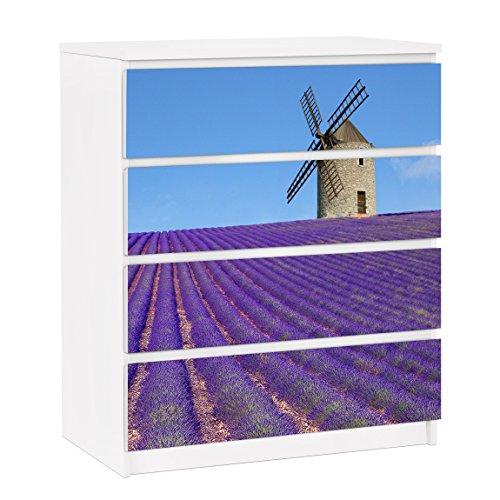 Apalis Vinilo Adhesivo para Muebles IKEA - Malm Dresser 4xDrawers - Lavender in Provence, Größe:4 Mal 20cm x 80cm