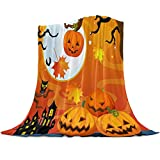 Arts Language Flannel Fleece Throw Blanket for Couch Bed Halloween Haunted House Mansion Pumpkin Mystery Castle Full Moon Soft Cozy Lightweight Bed Blanket for Kids/Adults/Girls/Boys 39'x49'