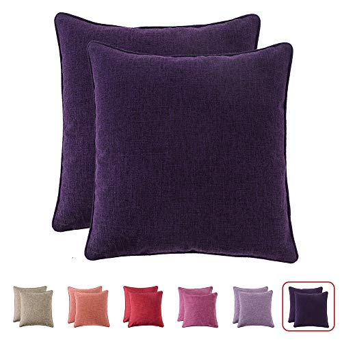 HPUK Pack of 2, Decorative Pillow Cover, Solid Color Pillowcase for Couch, Sofa, Bedroom, Car, Office, Holiday Decor,17x17 inch, Dark Purple