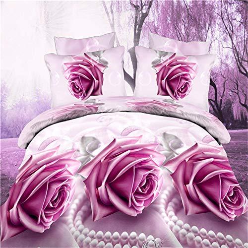 Générique Textile de Maison 3D Literie Active 4 Quatre Pièces Grand Tableau (Violet Rose 055)
