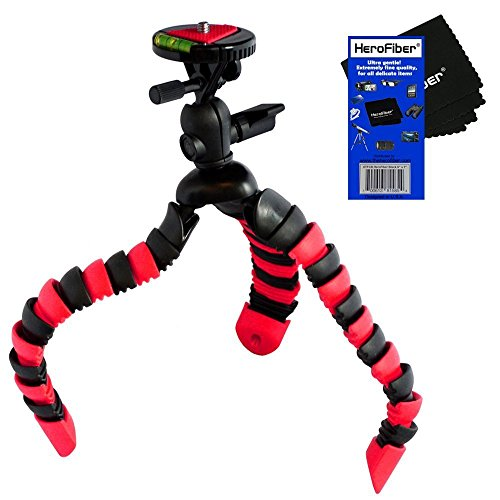 "HeroFiber 12"" Flexible Wrapable Legs Tripod with Quick Release Plate and Bubble Level (Red/Black) + HeroFiber Cleaning Cloth Compatible with Sony Alpha SLT-A37, SLT-A58, SLT-A65 & SLT-A77 DSLR Cameras"