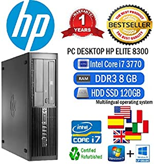 PC HP Elite 8300 SFF Intel CORE i7 3770 3,40 Ghz/8 GB/SSD 120 GB/DVD/WIN 10 PRO (certificado y reacondicionado)