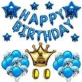 Decoración de Fiesta Azul Feliz Cumpleaños, Feliz Cumpleaños Azul, con Pancartas de Alfabeto de HAPPY BIRTHDAY y Globos de Confeti, para Decoración de Fiesta de Cumpleaños