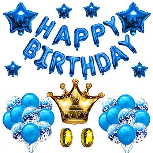 Knowing Decorazione Buon Compleanno Blu, Banner di Palloncino Stagnola Blu, con Banner Alfabeto di Happy Birthday e Palloncini Coriandoli Blu, per la Decorazione della Festa Nuziale di Compleanno