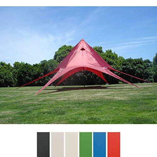 CLP Sternzelt für den Garten I Event-Zelt mit 10 Meter Durchmesser I Gartenzelt mit Einer überdachten Fläche von ca. 15 m² I erhältlich Rot