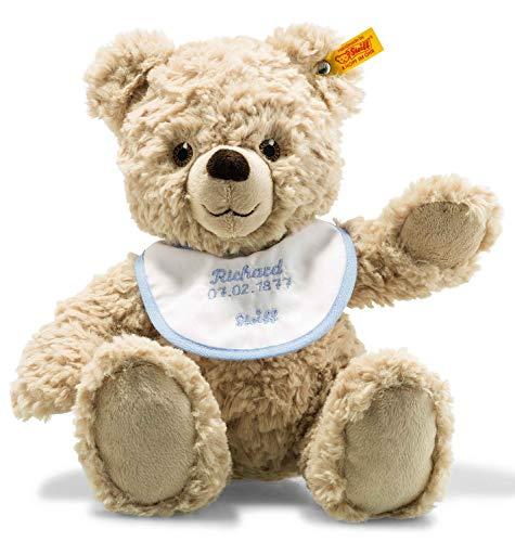 Steiff Teddybär zur Geburt - 30 cm - Teddybär mit Lätzchen rosa/blau - Kuscheltier für Babys - weich & waschbar - beige (241215)