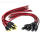 DONJON DC Power Pigtail,2,1 x 5,5 mm Macho Hembra Jack Conector,12v 5A DC Power Adaptador Pigtail...