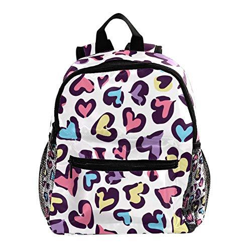 Daypack Corazón Leopardo Púrpura Mochila para Niños 3-8 Años Mochila Infantiles Bolsas Escolares de Niños Niñas 25.4x10x30 CM
