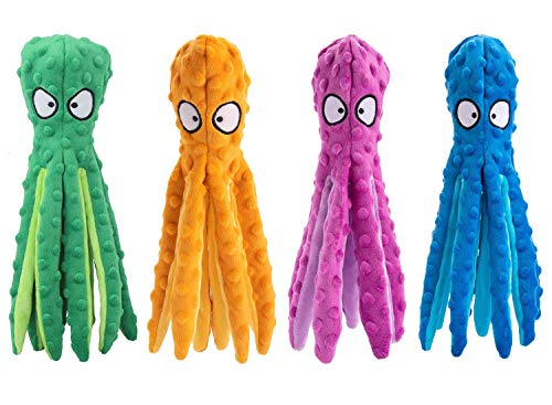 4 Pack Dog Squeaky Toys Octopus No Stuffing Crinkle Plush Dog Toys for Puppy Teething Durable Interactive Dog Chew Toys for Small to Medium Dogs
