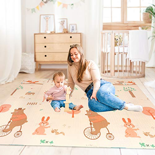 Baby Play Mat Foldable Playmat Extra Large Foam Mat Reversible Baby Crawling Mat Room Decor Transforms into Large Fun Activity Gym Mat for Yoga or Crawling Waterproof for Kids Toddler Infants