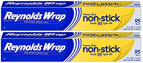 Cheapest Prices! 2 Pack, Reynolds Wrap Heavy Duty Non-Stick Aluminum Foil 95 sq ft, Packet Cook, Bak...