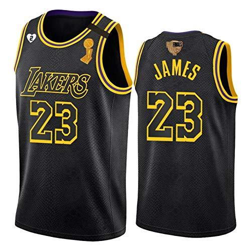 Lebron James Jersey, schwarz Mamba Los Angeles Lakers # 23 Meisterschaft Logo Nr. 2 Liebe Logo Basketball-Trikots, Unisex Swingman T-Shirt Tank Top Feiertagsgeschenk S