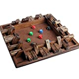 1-4 Players Shut The Box,Wooden Table Math Board Game Toy with 8 Dice Game Toy Flipping Playing Tool...