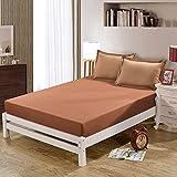 haiba Sábana bajera o fundas de almohada de franela de algodón cepillado, térmica, suave y acogedora, 120 x 200 cm (48 x 74 cm) x 2