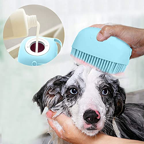Upgraded Dog Bath Brush,Best Pet Bathing Tool for Dogs,Soft Silicone Grooming Brush Bristles Give Pet Gentle Massage,Extra Shampoo Dispenser(Blue)