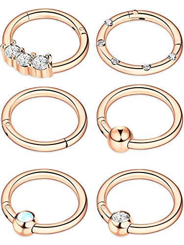 Blulu 6 Pieces 16G Stainless Steel Hinged Clicker Ring Nose Rings Opal Crystal CZ Lip Rings Hoops Piercing Jewelry, 6 Styles (Rose Gold)