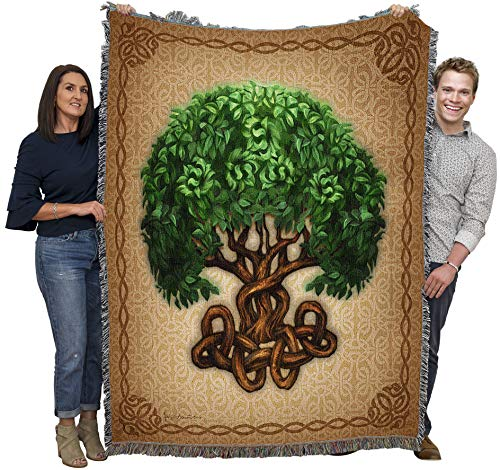 Pure Country Weavers Celtic Tree of Life by Brigid Ashwood Blanket Throw Woven from Cotton - Made in The USA (72x54)