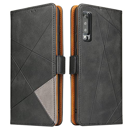 BININIBI Handyhülle für Samsung A7 2018 Hülle, Galaxy A7 (2018) Lederhülle Handytasche, Klapphülle Tasche Leder Schutzhülle für Samsung Galalxy A7 2018 (Schwarz)