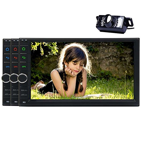 """Best WiFi Model Android 6.0 Quad-Core 7"""" Capacitive Touch-Screen Universal Car GPS Navigator Video Player 2 Din Stereo Radio Navigation Built in WiFi Bluetooth with Remote Control Rear Camera"""