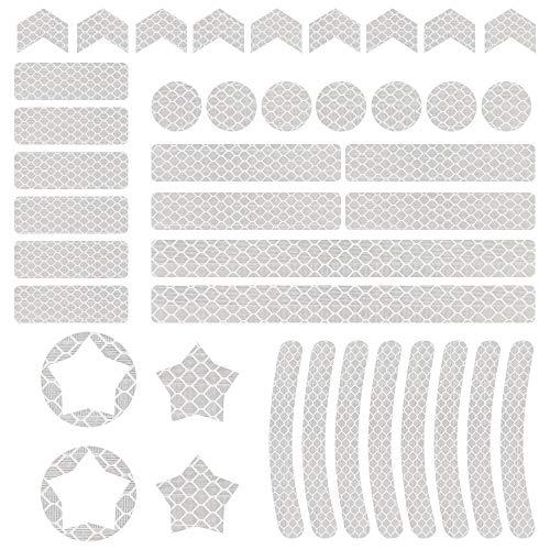 Vegena Reflektor Sticker, 42PCS Reflektoren Aufkleber Sticker Reflektierende Reflexfolie Rucksack Band Wasserfest Hochreflektierend für Kinderwagen Fahrrad Helme Schulranzen Sicherungs-Markierung