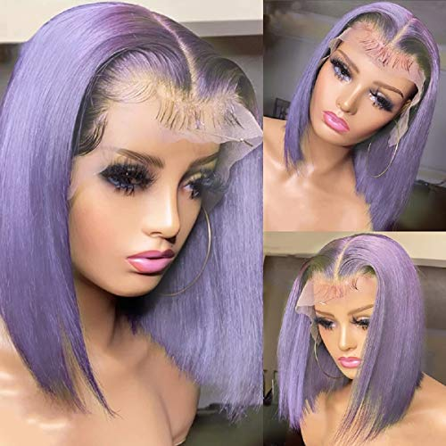 Short Bob Lace Front Wigs Human Hair Pre Plucked Full End 150% Density Purple Brazilian Straight T Part Bob Wigs with Baby Hair for Women 12inch
