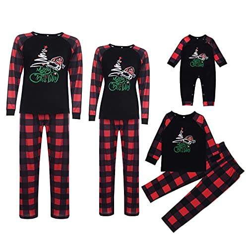 Matching Family Pajamas Set Christmas Red Plaid Jammies Clothes for Dad, Mum and Me Holiday Cotton Sleepwear Pjs