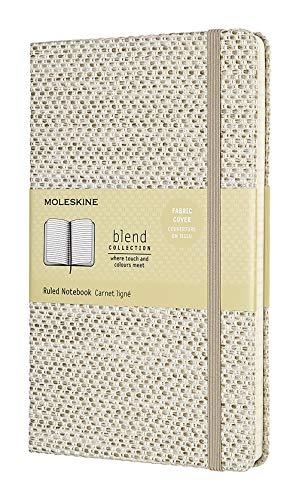 Moleskine Notebook Blend Collection Pagina a Righe, Taccuino Copertina Rigida in Tessuto e Chiusura ad Elastico, Dimensione Large 13 x 21 cm - 240 Pagine, Beige