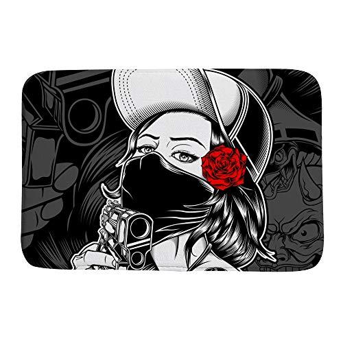 Ruchen - Felpudo para Mujer, diseño de Mafia con Pistola, absorben la Humedad, Duradero, multitamaño, Lana Coral, 23.6×15.7 Inch