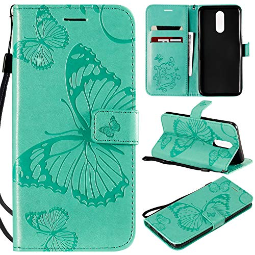 ViViKaya Custodia per LG K40, Farfalla Pelle Flip Libro Portafoglio Protezione Custodia in TPU Cover Protettiva per LG K40 [Verde]