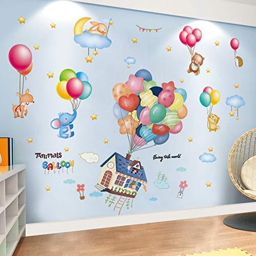 SPFOZ Haus Dekoration Bunte Ballone Wand-Aufkleber DIY Karikatur-Haus-Tiere Wandaufkleber for Kinder Zimmer Baby-Schlafzimmer-Dekoration (Color : Animal and House)