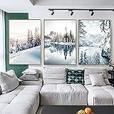 Cuadros artísticos de pared nórdico místico invierno nieve bosque paisaje lienzo pinturas mañana paisaje impresión cartel decoración del hogar 50x80cmx3pcs sin marco