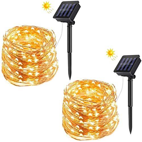 Solar Lichterkette Aussen, VIFLYKOO 120 LED Lichterkette 8 Modi Außenbeleuchtung IP65 Wasserdicht Kupferdraht Warmweiß Dekorative Lichterkette für raussen,Terrase,Garten, Hochzeit,Party - 2 Stück