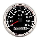 Odómetro para coche, indicador digital automático, 200 km/h, 3,3 pulgadas, velocímetro GPS, 12 V/24 V, odómetro marino digital impermeable para coche, motocicleta, yate, camión(Negro)
