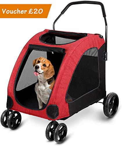 Dog Stroller- amzdeal Pet Stroller for Large Dogs, Max Load 60kg Dog, 4...
