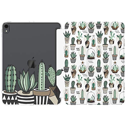 Cavka Case for Apple iPad 10.2 8th Gen 12.9 Pro 11 10.5 9.7 Air 3 Mini 5 4 3 2 1 2019/18 Cactus Plants Geometric Clear Cute Print Women Pattern Girl Watercolor Kawaii Smart Cover Potted