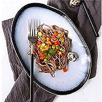 28GRJ ボウルセットのサービングセラミックスープラーメンライスフルーツサラダデザートボウルクリエイティブステーキパスタ料理味噌寿司皿プレート電子レンジ安全な調味料 (Size : 6)