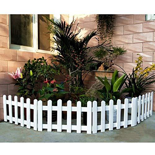 JIANFEI-Valla de jardín Valla De Madera Borde De La Cama De Flores Planta De Barandilla Resistente A La Corrosión Bisagra De Metal, 4 Tallas 4 Colores (Color : White, Size : 50x20cm)
