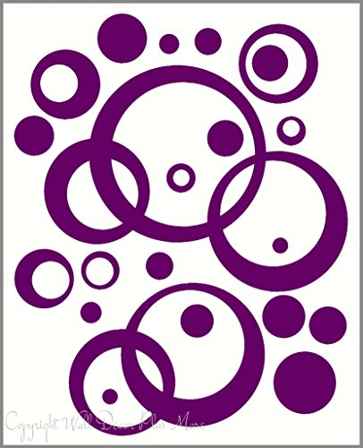 Wall Vinyl Sticker Decal Circles, Rings, Dots 25+pc 11in Large Home Décor - Plum