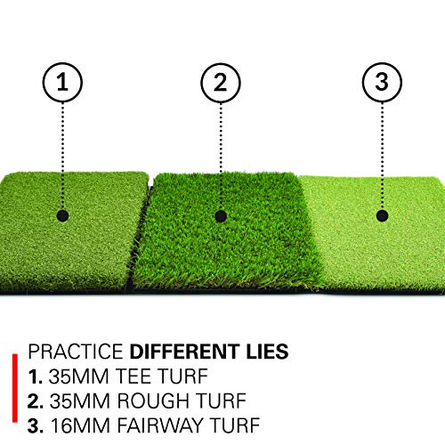 Rukket Tri-Turf Golf Hitting Mat Attack | Portable Driving, Chipping, Training Aids for Backyard with Adjustable Tees and 12 Foam Practice Balls (XL (36' x 23.5'))