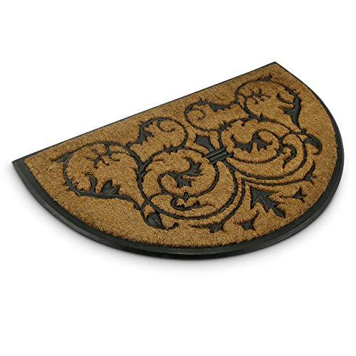 Relaxdays Fußmatte Kokos halbrund 100 x 60 cm Kokosmatte mit rutschfester Gummi Unterlage Fußabtreter aus Kokosfaser als Schmutzfangmatte und Sauberlaufmatte Fußabstreifer für Außen und Innen, braun