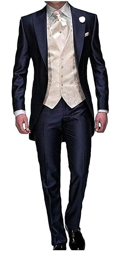 Men's Navy Blue Groom Tuxedos 3 Pieces Tailcoat Wedding Suits Long Men Suit