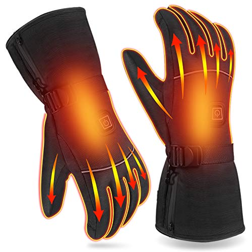 Winter Heated Gloves for Men Women, Waterproof Battery Heating Outdoor Cycling Motorcycle Skiing Camping Skating Climbing Hiking Warm Gloves, 3 Heating Levels Control Hand Warmer Thermal Gloves